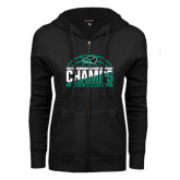 ENZA Ladies Black Fleece Full Zip Hoodie-2017 Mens Basketball Champions Basketball