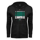 ENZA Ladies Black Fleece Full Zip Hoodie-2017 Mens Basketball Champions Repeating
