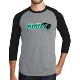 Grey/Black Tri Blend Baseball Raglan-Nichols College Bison w/Bison