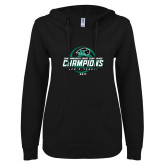 ENZA Ladies Black V Notch Raw Edge Fleece Hoodie-2017 Commonwealth Coast Conference Champions - Mens Tennis Spiral