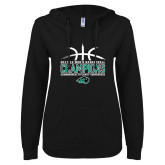 ENZA Ladies Black V Notch Raw Edge Fleece Hoodie-CCC Mens Basketball Champions