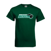 Dark Green T Shirt-Nichols College Bison w/Bison