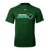 Under Armour Dark Green Tech Tee-Nichols College Bison w/Bison