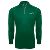 Under Armour Dark Green Tech 1/4 Zip Performance Shirt-Nichols College Bison w/Bison