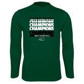 Performance Dark Green Longsleeve Shirt-2017 Mens Basketball Champions Repeating