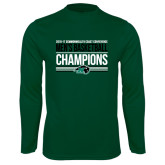 Performance Dark Green Longsleeve Shirt-2017 Mens Basketball Champions Stacked