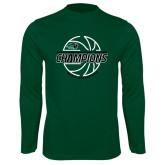 Performance Dark Green Longsleeve Shirt-2017 Mens Basketball Champions Full Basketball