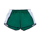 Ladies Dark Green/White Team Short-N w/Bison