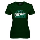 Ladies Dark Green T Shirt-2017 Mens Basketball Champions Basketball
