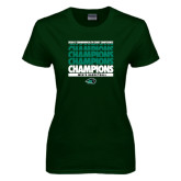 Ladies Dark Green T Shirt-2017 Mens Basketball Champions Repeating
