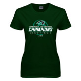 Ladies Dark Green T Shirt-2016 Commonwealth Coast Conference Champions - Womens Tennis Spiral