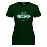 Ladies Dark Green T Shirt-2016 Commonwealth Coast Conference Champions - Womens Tennis Spiral