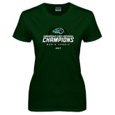 Ladies Dark Green T Shirt-2017 Commonwealth Coast Conference Champions - Mens Tennis Spiral