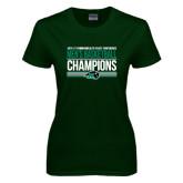 Ladies Dark Green T Shirt-2017 Mens Basketball Champions Stacked
