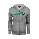 ENZA Ladies Grey Fleece Full Zip Hoodie-Nichols College Bison w/Bison