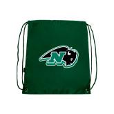 Dark Green Drawstring Backpack-N w/Bison
