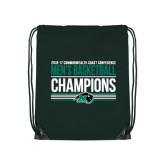 Dark Green Drawstring Backpack-2017 Mens Basketball Champions Stacked