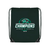 Dark Green Drawstring Backpack-2016 Commonwealth Coast Conference Champions - Womens Tennis Spiral