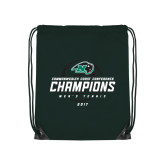 Dark Green Drawstring Backpack-2017 Commonwealth Coast Conference Champions - Mens Tennis Spiral
