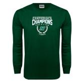 Dark Green Long Sleeve T Shirt-N w/Bison