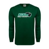 Dark Green Long Sleeve T Shirt-Field Hockey