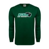 Dark Green Long Sleeve T Shirt-Ice Hockey