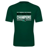 Performance Dark Green Tee-2017 Mens Basketball Champions Stacked