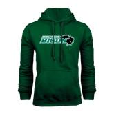 Dark Green Fleece Hood-Nichols College Bison w/Bison