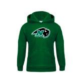 Youth Dark Green Fleece Hoodie-N w/Bison