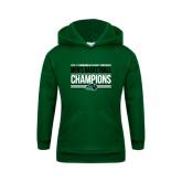 Youth Dark Green Fleece Hoodie-2017 Mens Basketball Champions Stacked
