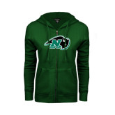ENZA Ladies Dark Green Fleece Full Zip Hoodie-N w/Bison