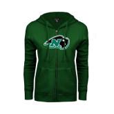 ENZA Ladies Dark Green Fleece Full Zip Hoodie-N w/Bison