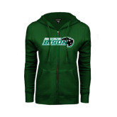 ENZA Ladies Dark Green Fleece Full Zip Hoodie-Nichols College Bison w/Bison