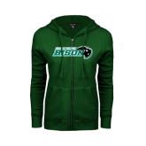 ENZA Ladies Dark Green Fleece Full Zip Hoodie-Nichols College Bison w/Bison