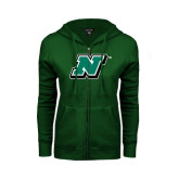 ENZA Ladies Dark Green Fleece Full Zip Hoodie-N