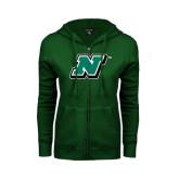 ENZA Ladies Dark Green Fleece Full Zip Hoodie-N