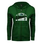 ENZA Ladies Dark Green Fleece Full Zip Hoodie-2017 Mens Basketball Champions Basketball