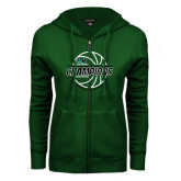 ENZA Ladies Dark Green Fleece Full Zip Hoodie-2017 Mens Basketball Champions Full Basketball