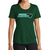 Ladies Performance Dark Green Tee-Nichols College Bison w/Bison