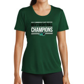 Ladies Performance Dark Green Tee-2017 Mens Basketball Champions Stacked