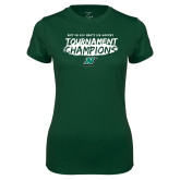 Ladies Performance Dark Green Tee-Mens Ice Hockey Champions