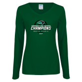 Ladies Dark Green Long Sleeve V Neck T Shirt-2017 Commonwealth Coast Conference Champions - Mens Tennis Spiral