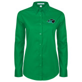 Ladies Kelly Green Twill Button Down Long Sleeve-N w/Bison