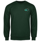 Dark Green Fleece Crew-N w/Bison