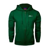 Dark Green Fleece Full Zip Hoodie-Nichols College Bison w/Bison