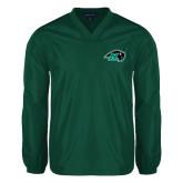 V Neck Dark Green Raglan Windshirt-N w/Bison