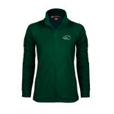 Ladies Fleece Full Zip Dark Green Jacket-N w/Bison