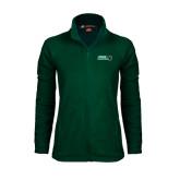 Ladies Fleece Full Zip Dark Green Jacket-Nichols College Bison w/Bison