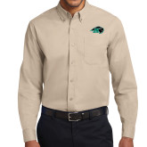 Khaki Twill Button Down Long Sleeve-N w/Bison