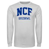 White Long Sleeve T Shirt-Quizbowl
